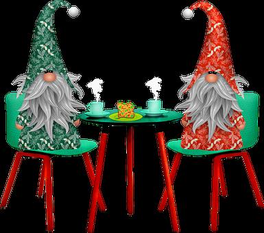 Gnomes At Table, Christmas Gnome, Imp, Elf, Bart