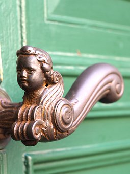 Door Knob, Handle, Metal, Door, Input, Green, Figure