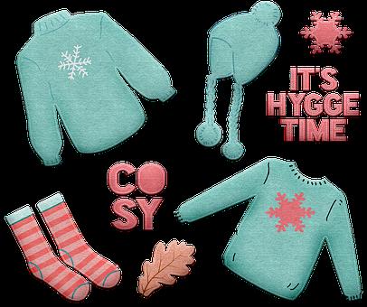 Hygge, Danish, Cozy, Hat, Cold, Scarf, Warm, Blue