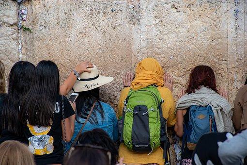 Praying, The Western Wall, Tourists, Jerusalem, Israel