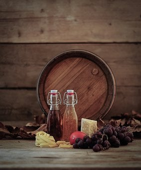 Wine Barrel, Grapes, Oil Bottle, Vinegar Bottle, Pasta