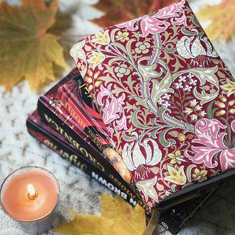 Books, Autumn, Leaves, Foliage, October, Red