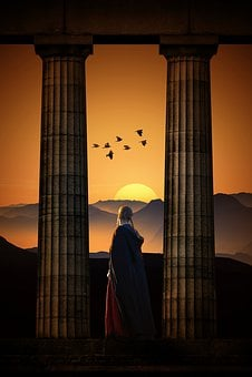 Fiction, Sunset, Sun, Sky, Landscape, Universe