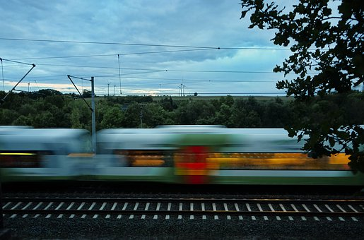Train, Fast, Blurred, Movement, Landscape, Express