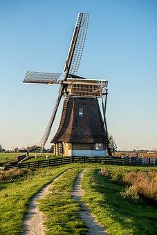 Windmill, Fryslân, Friesland, Water, Landscape, Nature