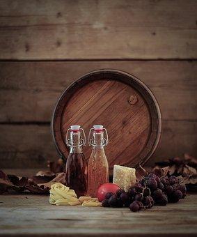 Wine Barrel, Grapes, Oil Bottle, Vinegar Bottle, Pasta