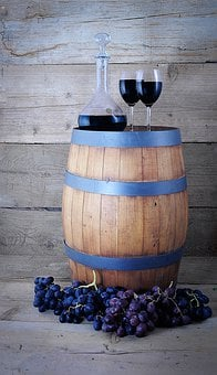 Wine Barrel, Wine Carafe, Wine Glasses, Grapes