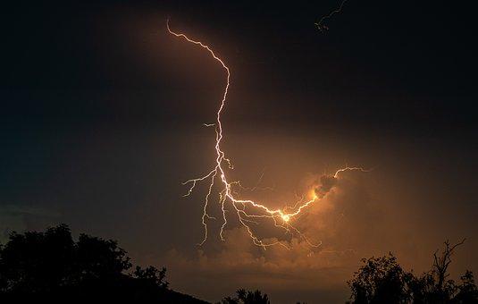 Flashes, Evening, Thunderstorm, Weather, Dark, Nature