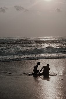 Father, Son, Beach, Sunset, Silhouette, Happy, Parent