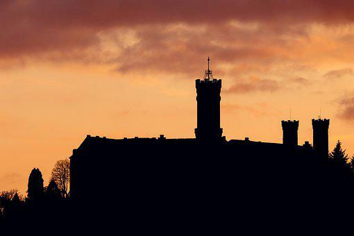 Silhouette, Castle, Schaumburg, Balduinstein, Sunset