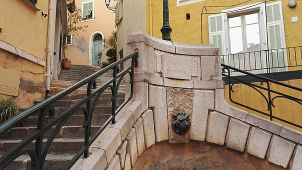 Stairs, Balcony, Fountain, Architecture, City