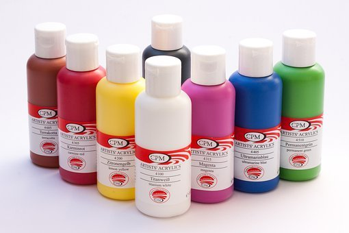 Acrylic Paints, Color, Bottles, Colorful, White, Yellow