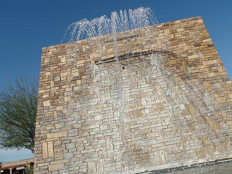 Waterfall, Brick Wall, Blue Sky, Wall, Water, Brick