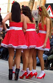 Carnival, Mask, Parade, Costume, Girls, Skirts, Red