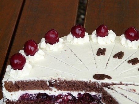 Black Forest Cake, Cherries, Cream, Cake, Gate