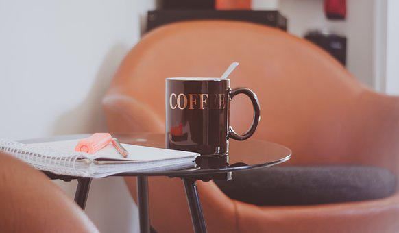 Coffee Cup, Cup, Coffee, Side Table, Glass Table, Chair