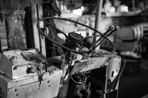 Steering Wheel, Old, Rusty, Black And White, Decay