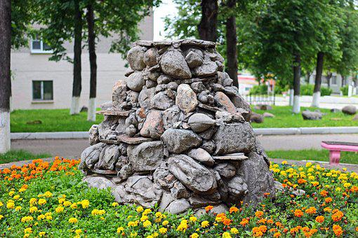 Fountain, Stones, Of Stone Fountain, Flower Bed, City