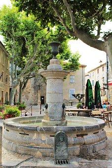 Fountain, Village Square, France, Sea Peyriac, Water