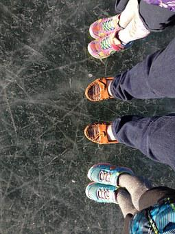 Feet, Ice, Frozen, Lake, Snow, Winter, Skating, Frost