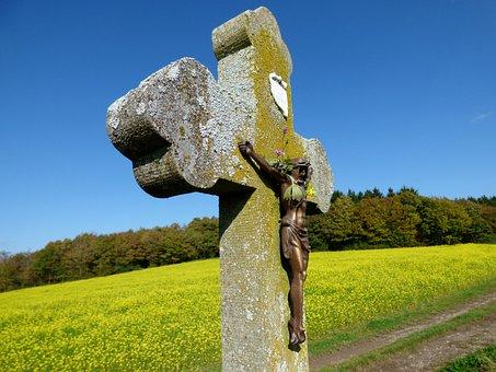 Field Cross, Crucifix, Mustard Seed Field, Luxembourg