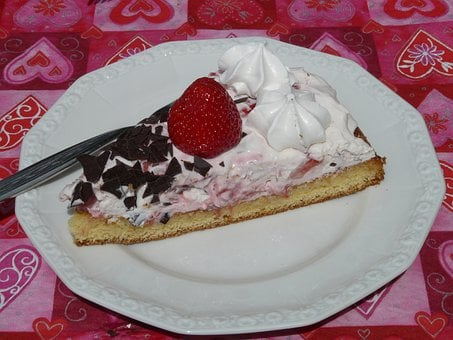 Cake, Piece Of Cake, Served, Plate, Eat, Strawberry Pie