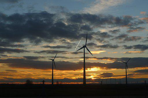 Sunset, Energy, Wind, Environment, Power, Plant