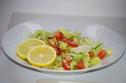 Vegetable Salad, Healthy, Plate, Lemon, Tomato