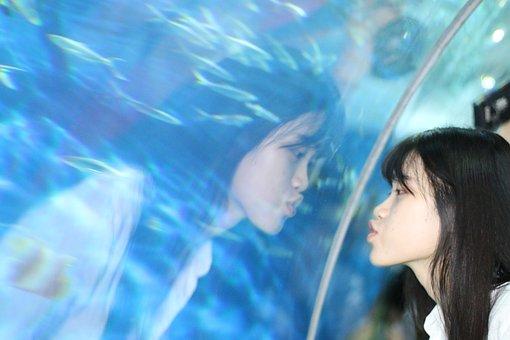 Portrait, Aquarium, Girls, Reflection, Funny, Lips