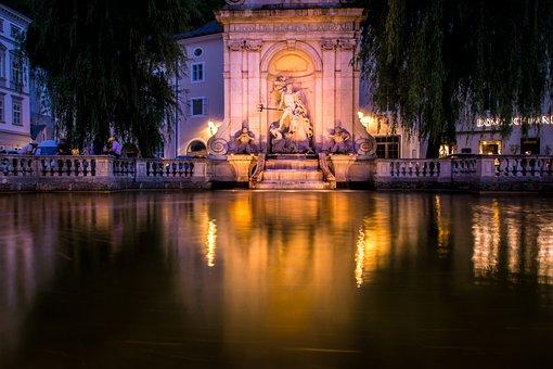 Salzburg, Fountain, Austria, Stone Figure