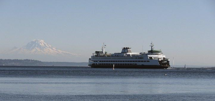 Ferry, Mount Rainier, Seattle, Puget Sound, Mount