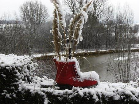 Snow, Red, Shoe, Winter