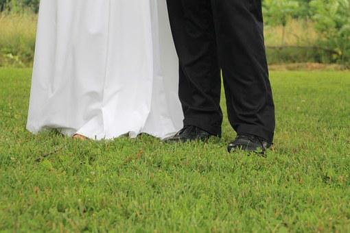 Wedding, Dress, Pants, Feet, Shoes, White, Gown