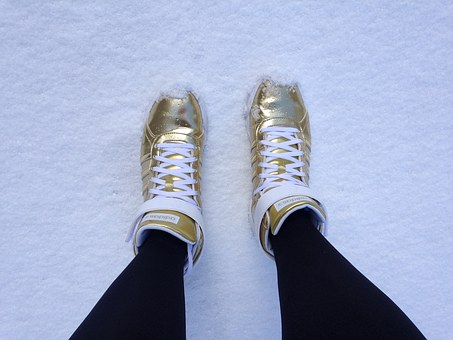 Shoes, Golden, Snow, Winter, Cold, Gold