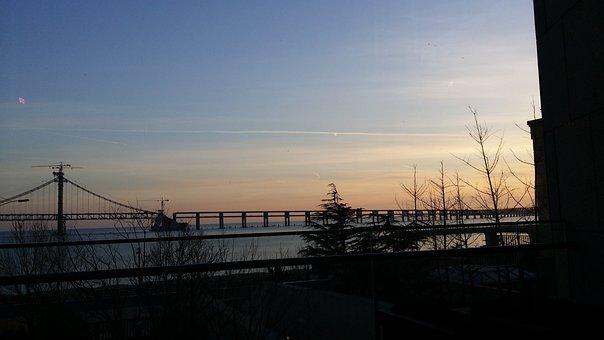 China, Bridge, Sunset, Asia, Chinese, Sky, Water
