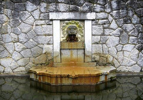 Water Fountain, Lion, Fountain, Architecture, Stone