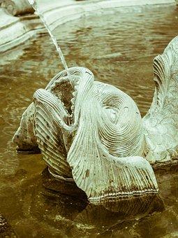Fish, Fountain, Gargoyle, Water, Sculpture