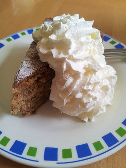 Piece Of Cake, Cake, Hazelnut, Cream, Whipped Cream