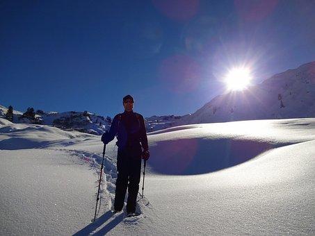 Snowshoeing, Sun, Winter, Snow, Frost, Wintry, Sky Blue