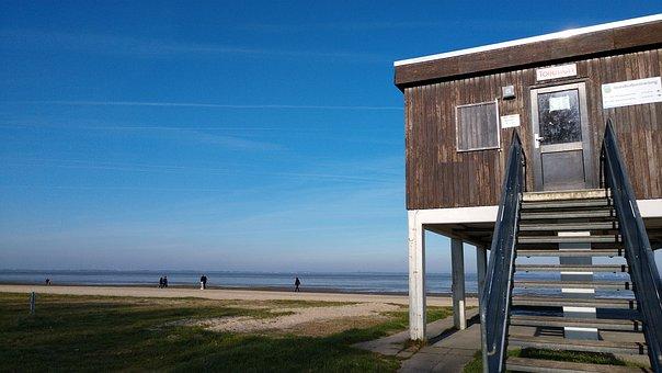 North Sea, Jade, Autumn, Beach, Sea, House, Guard