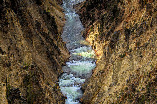 Yellowstone, Waterfall, Water, Wyoming, Usa, Nature