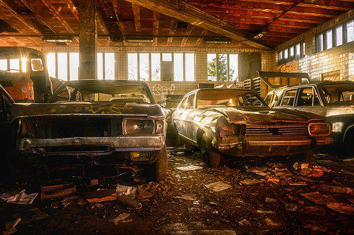 Garage, Scrap, Pkw, Auto, Ford, Rusted, Scrap Car
