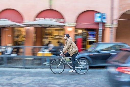 Italy, Bologna, Bicycle, Street, Pano Photografy