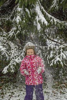 Portrait, Girl, Forest, Stroll, Snowfall, Nature