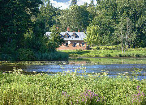 Pond, Park, House, Summer, Relaxation, Holidays