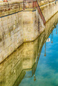 Reflection, Ramparts, Wall, Pierre, Medieval