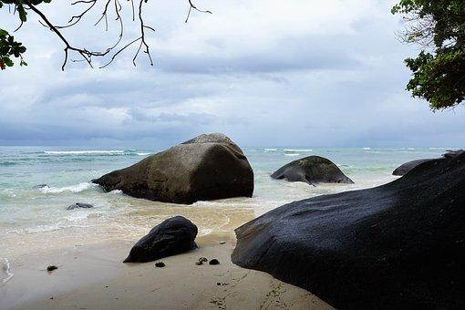 Seychelles, Stone, Rock, Water