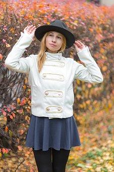 Autumn, Foliage, Girl, Fashion, Skirt, Coldly, Park