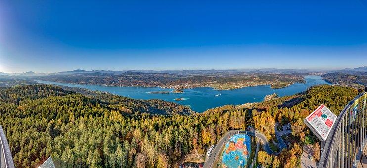 Wörthersee, Carinthia, Pyramidenkogel, Austria, Lake