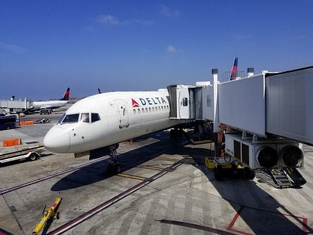 Airplane, Jetbridge, Delta, Airline, Aircraft, Plane